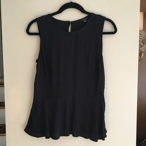 Ann Taylor Crepe Sleeveless Peplum Top